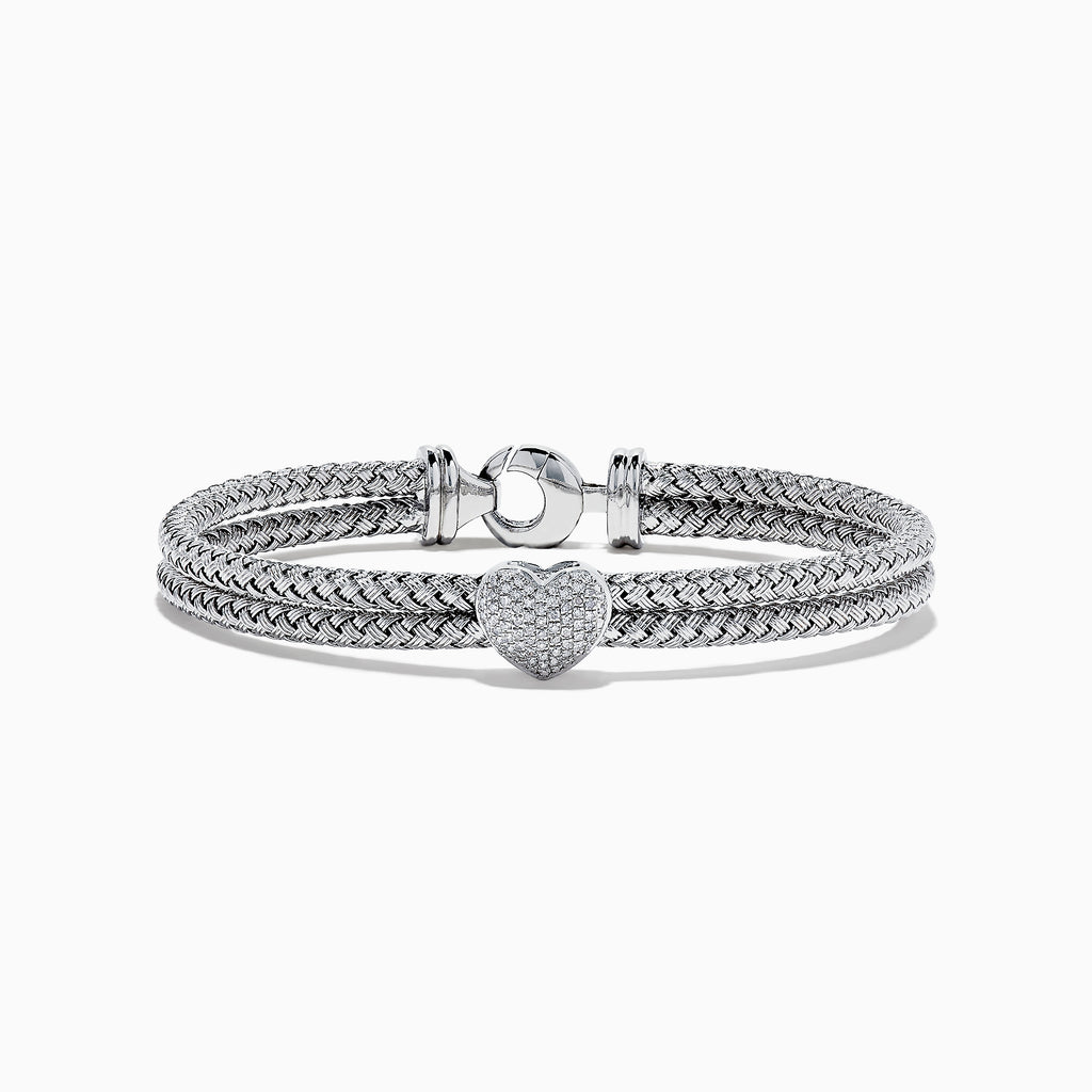 Effy 925 Braided Sterling Silver Diamond Heart Bracelet, 0.23 TCW