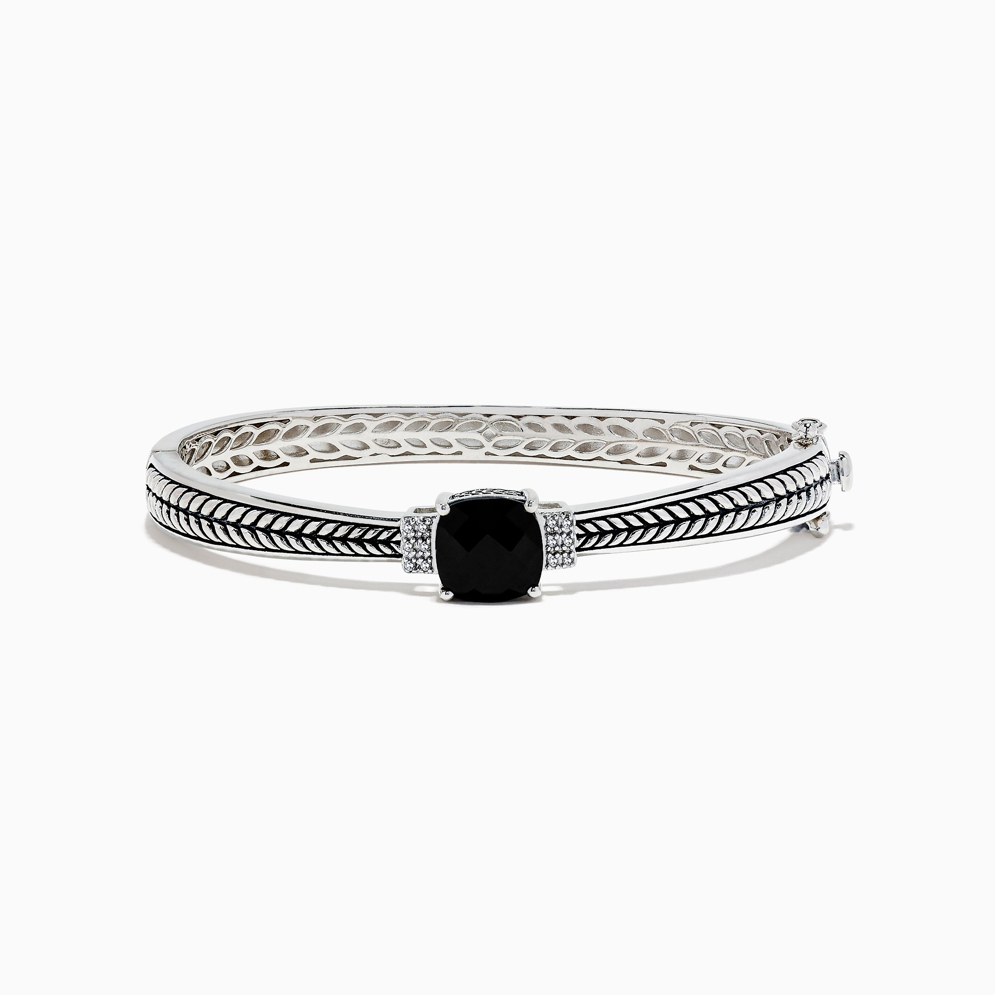 Effy 925 Sterling Silver Onyx and Diamond Bangle, 4.26 TCW