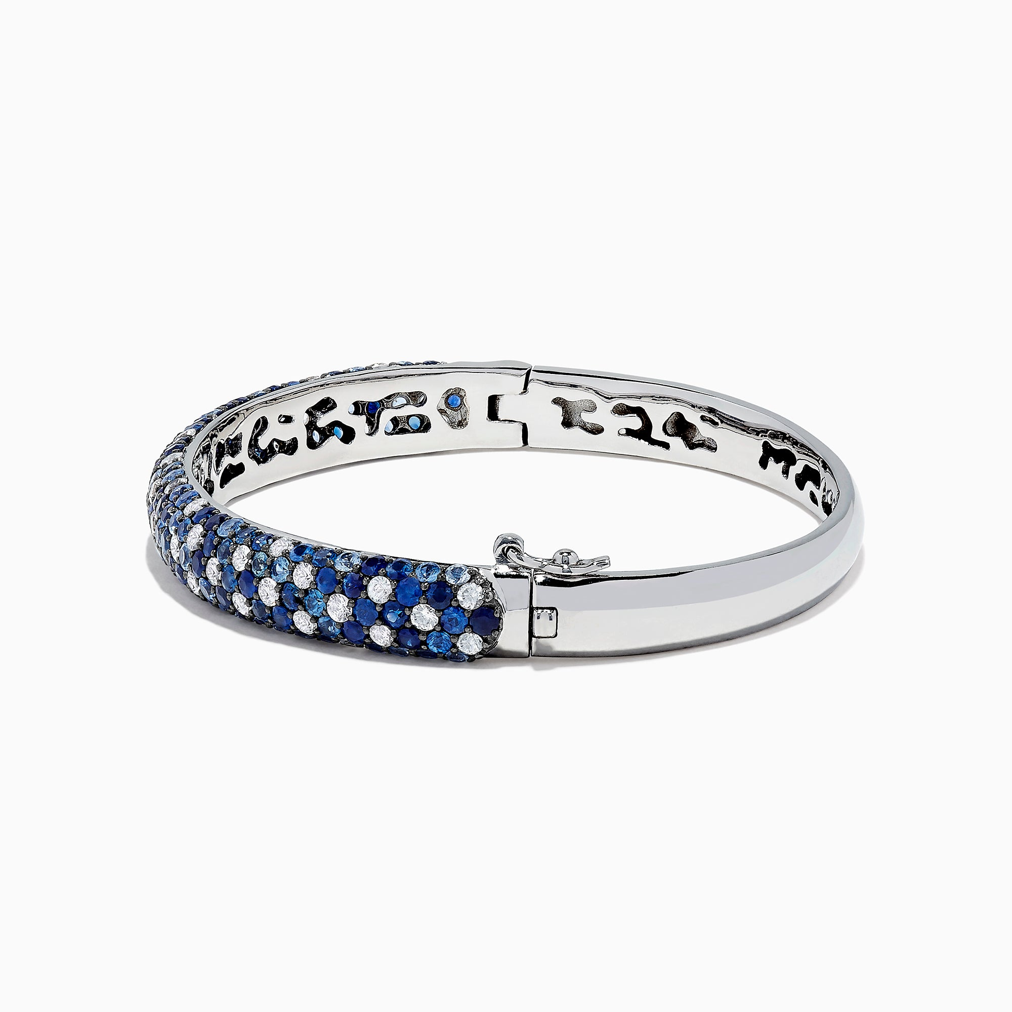 Effy 925 Sterling Silver Blue and White Sapphire Splash Bangle, 9.93 TCW