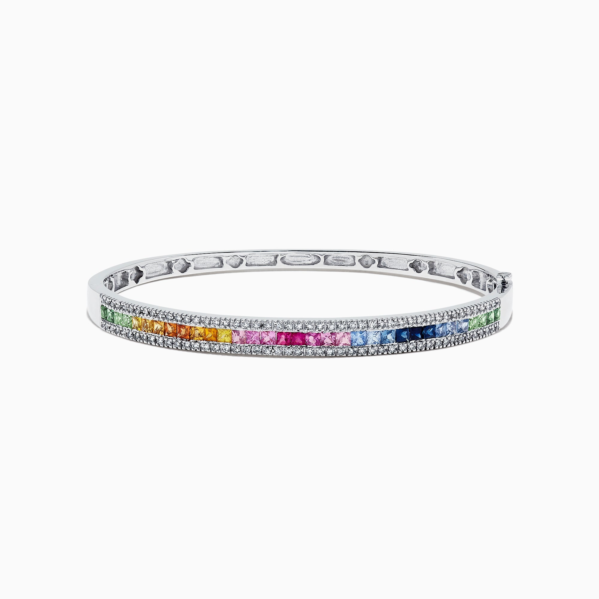 Effy Watercolors 14K White Gold Multi Sapphire & Diamond Bangle, 3.60 TCW