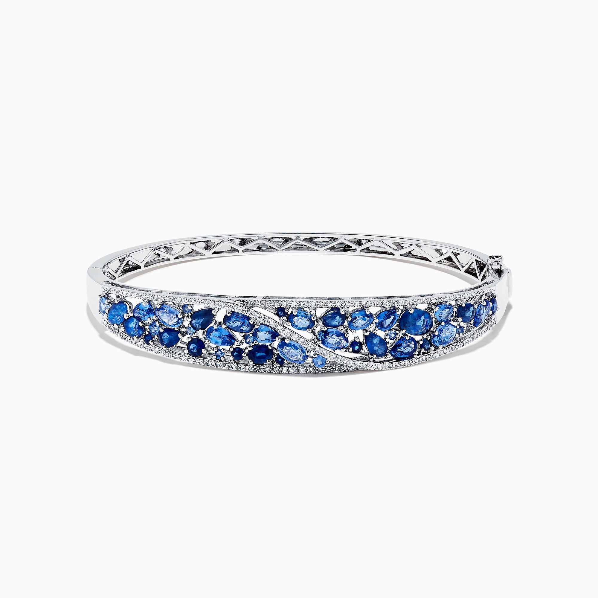 Effy Gemma 14K White Gold Natural Blue Sapphire & Diamond Bangle, 7.82 TCW