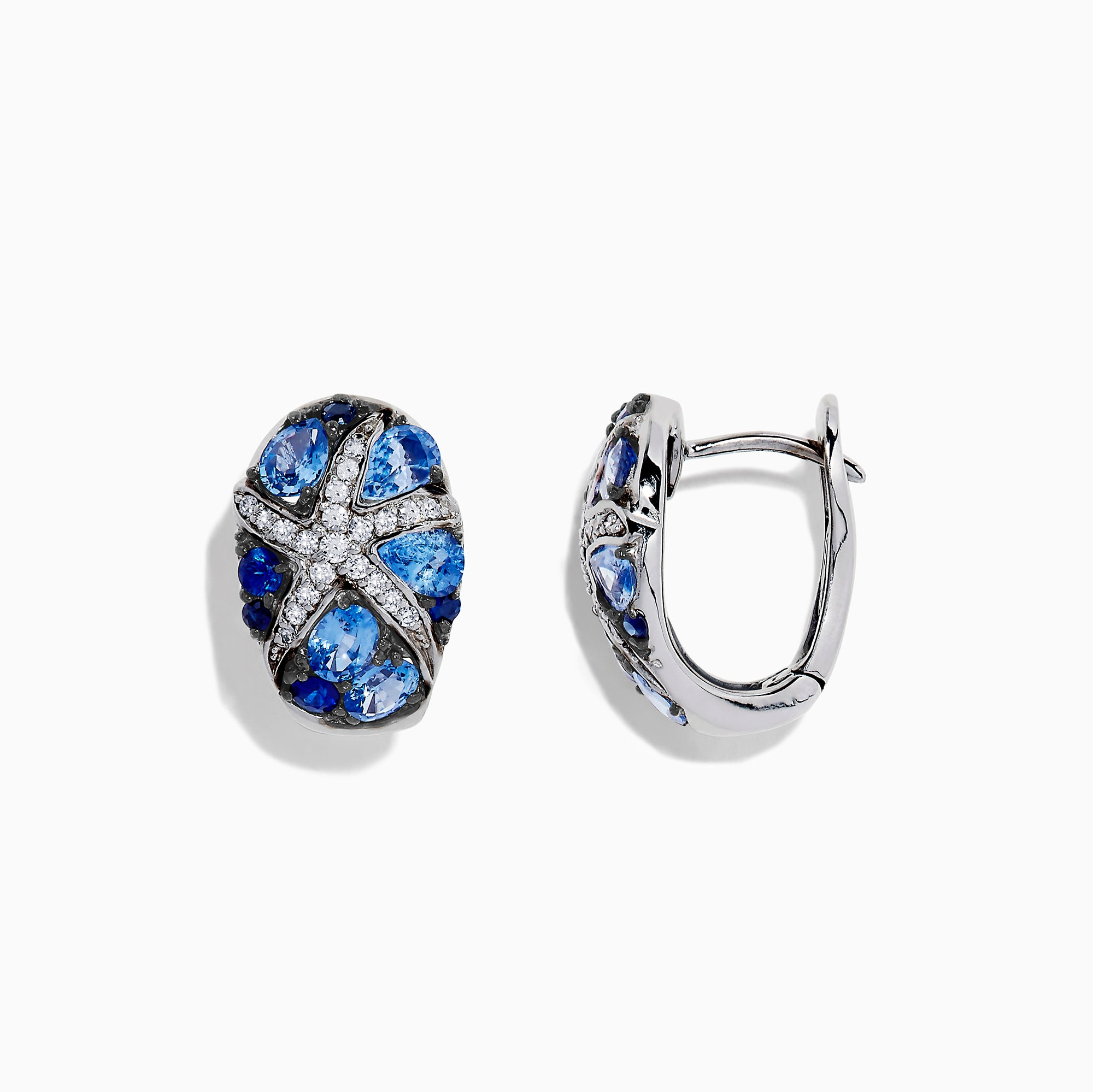 Effy Seaside 14K White Gold Sapphire & Diamond Starfish Earrings, 2.97 TCW