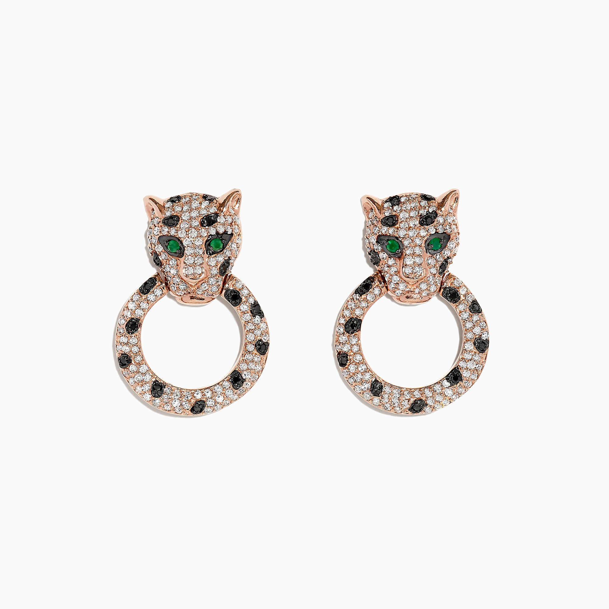 Effy Signature 14K Rose Gold Diamond and Emerald Earrings, 1.57 TCW