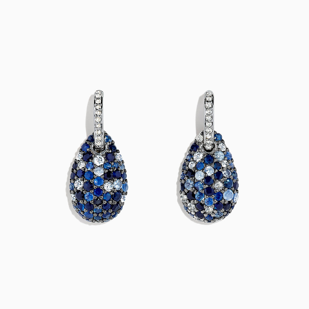 Effy 925 Sterling Silver Sapphire Splash & Diamond Earrings, 2.59 TCW