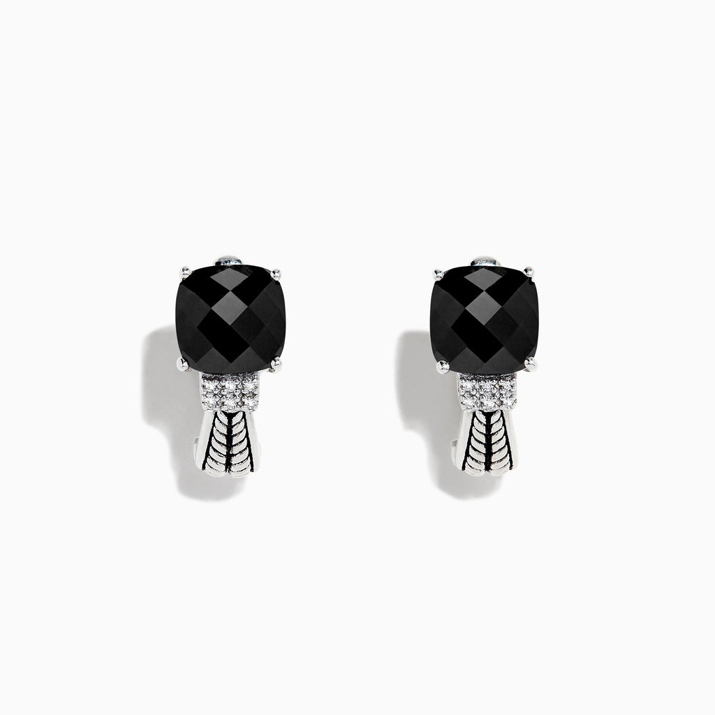 Effy 925 Sterling Silver Onyx and Diamond Earrings, 3.49 TCW