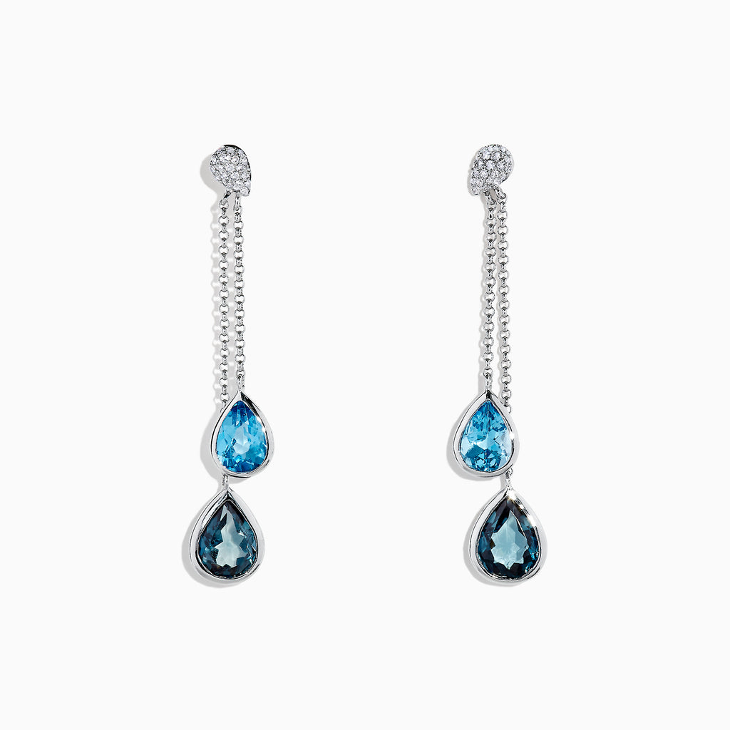 Effy Ocean Bleu 14K White Gold Blue Topaz and Diamond Earrings, 4.28 TCW