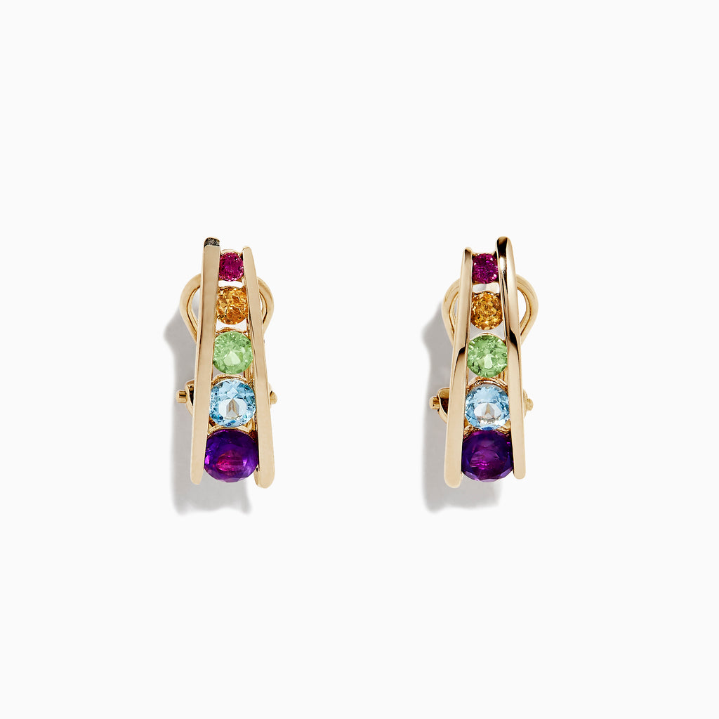Effy Mosaic 14K Yellow Gold Multi Gemstone Earrings, 1.40 TCW
