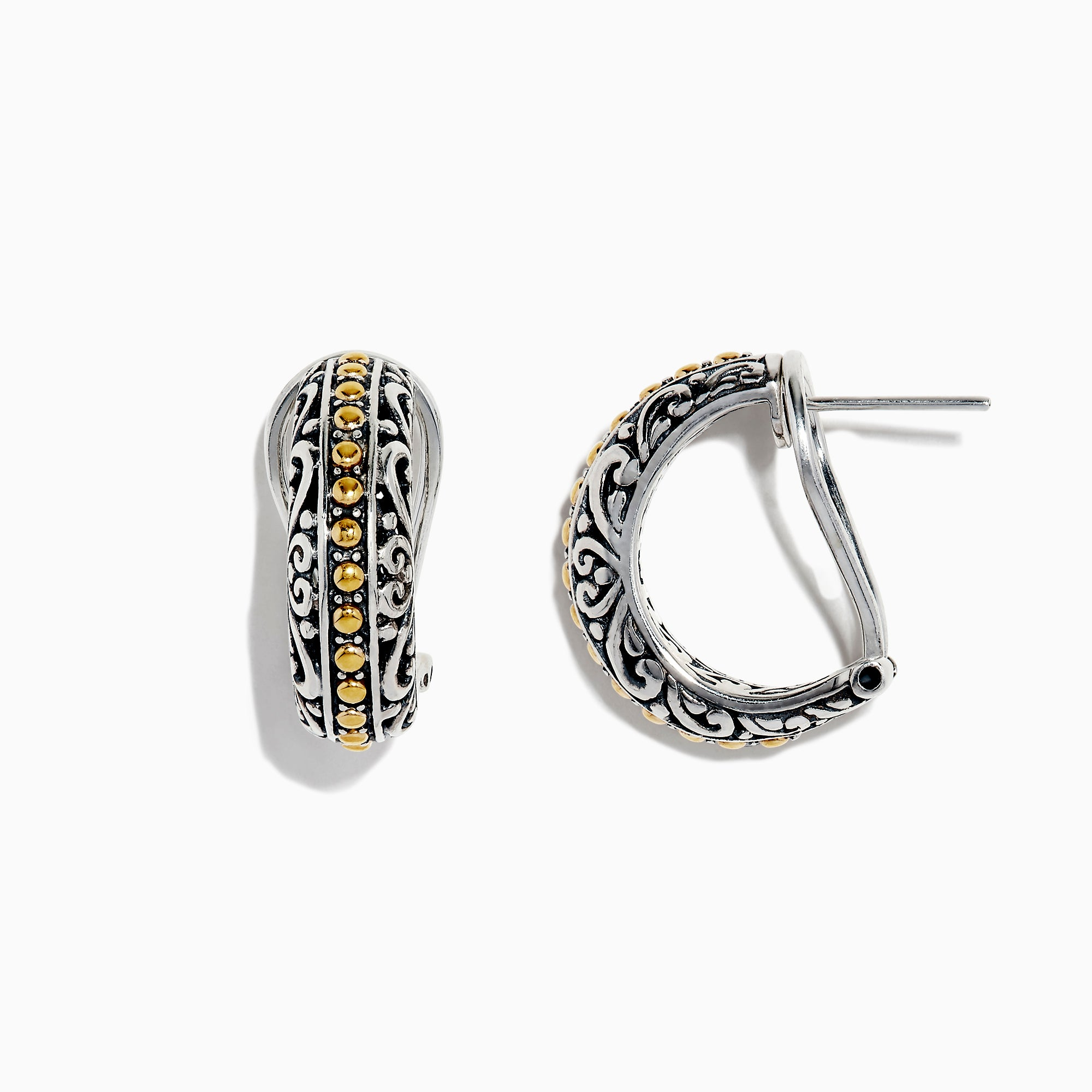 Effy 925 Sterling Silver and 18K Yellow Gold Earrings