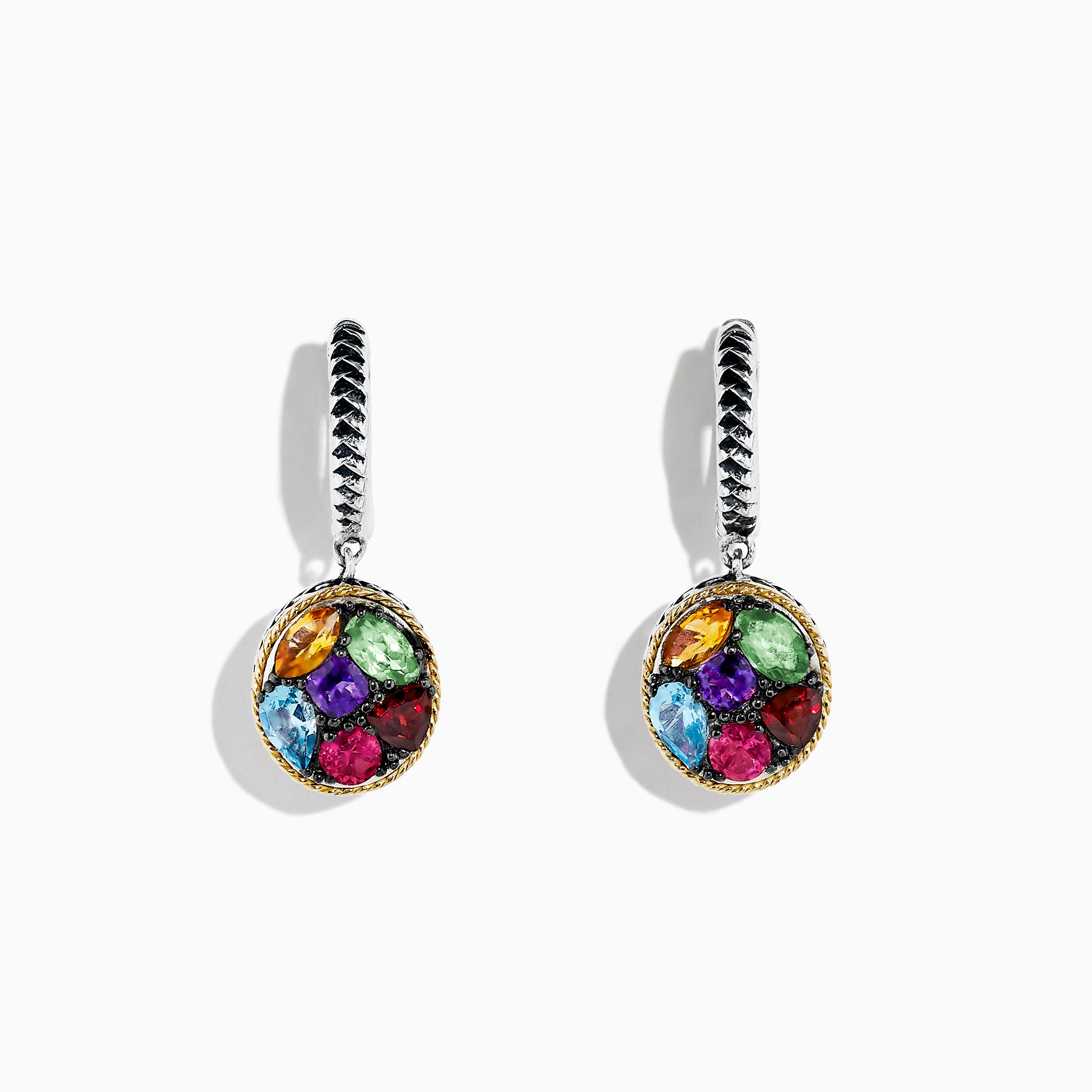 Effy Mosaic Sterling Silver & 18K Gold Multi Gemstone Earrings, 2.75 TCW