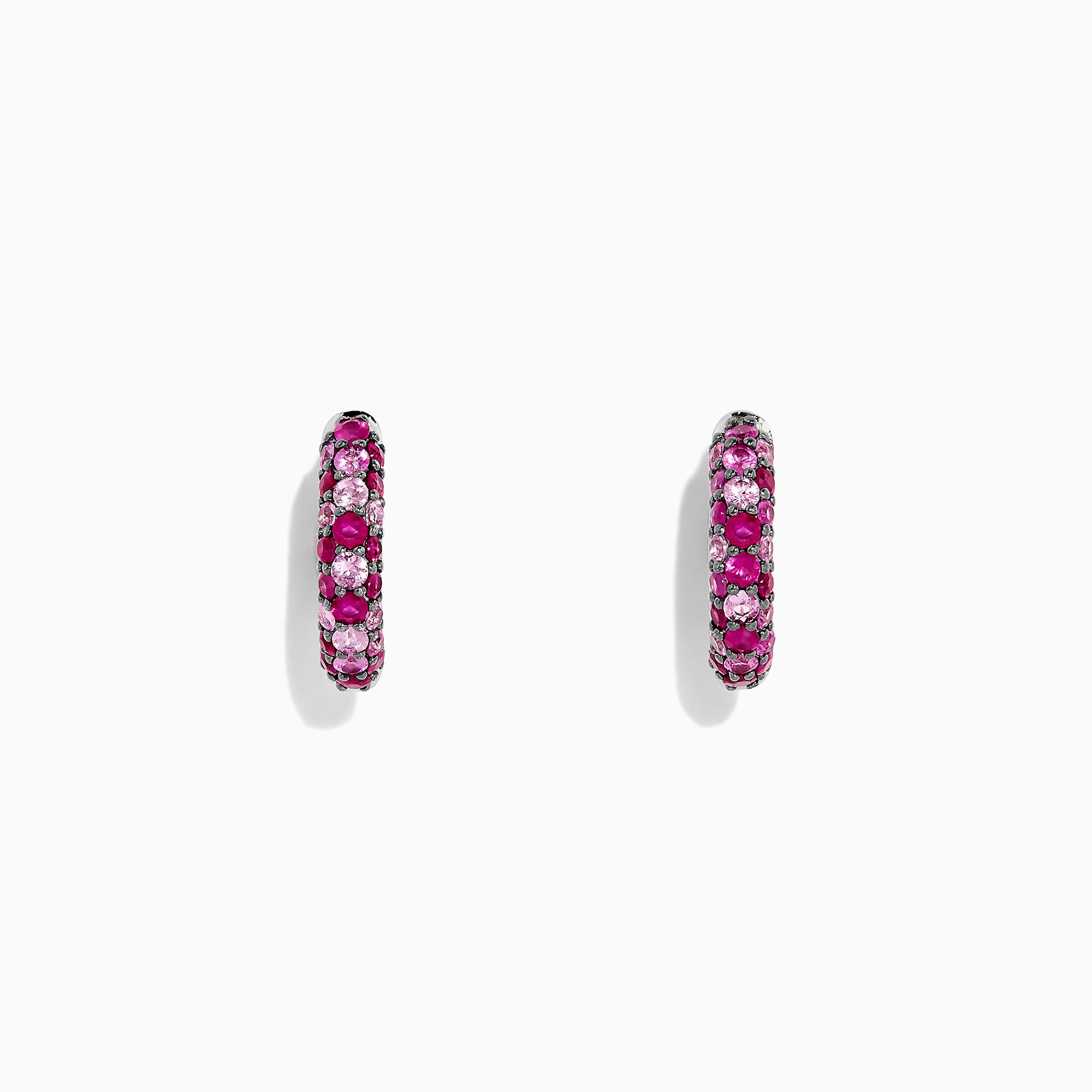 Effy 925 Sterling Silver Pink Sapphire Splash Small Hoop Earrings, 1.80 TCW