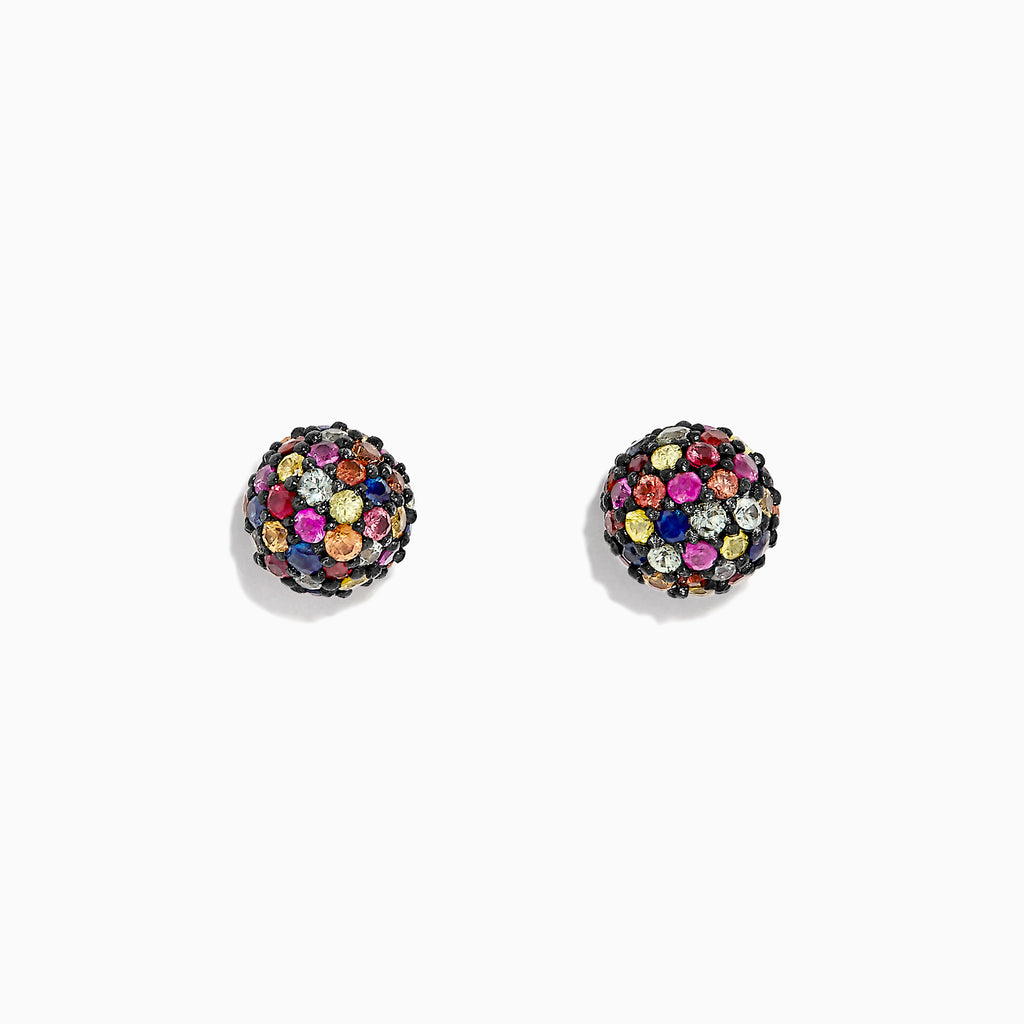 Effy Splash Sterling Silver Multi Color Sapphire Ball Earrings, 2.20 TCW