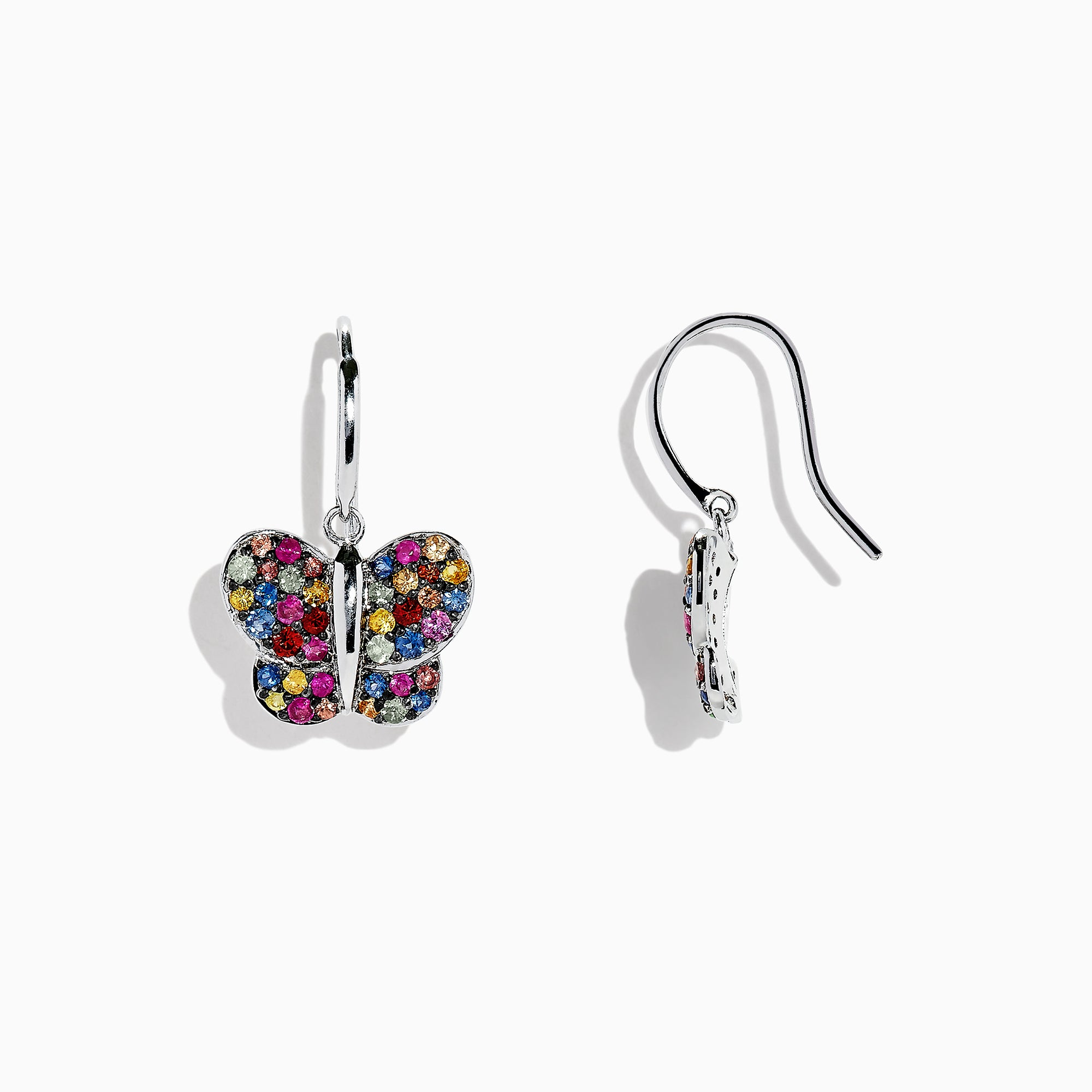 Effy 925 Sterling Silver Multi Sapphire Butterfly Earrings, 1.62 TCW