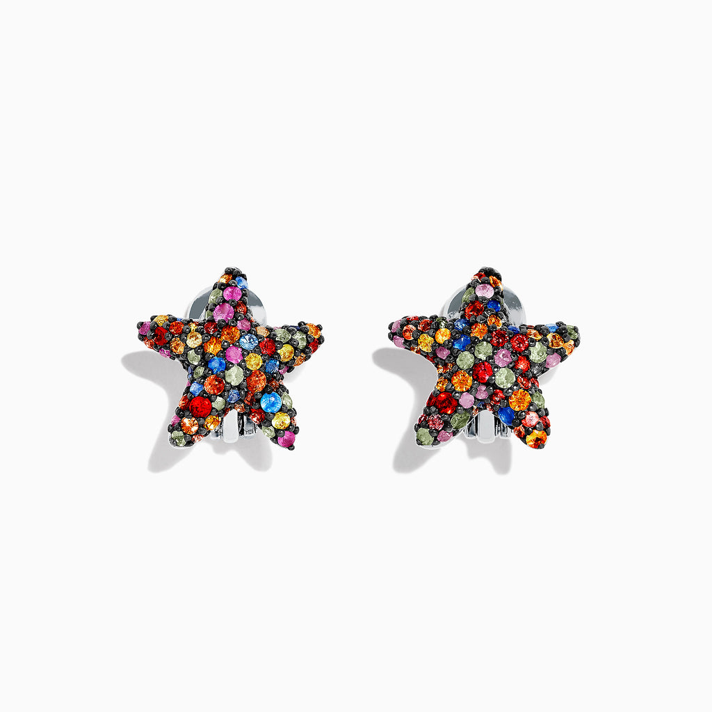 Effy 925 Sterling Silver Multi Sapphire Splash Starfish Earrings, 2.35 TCW