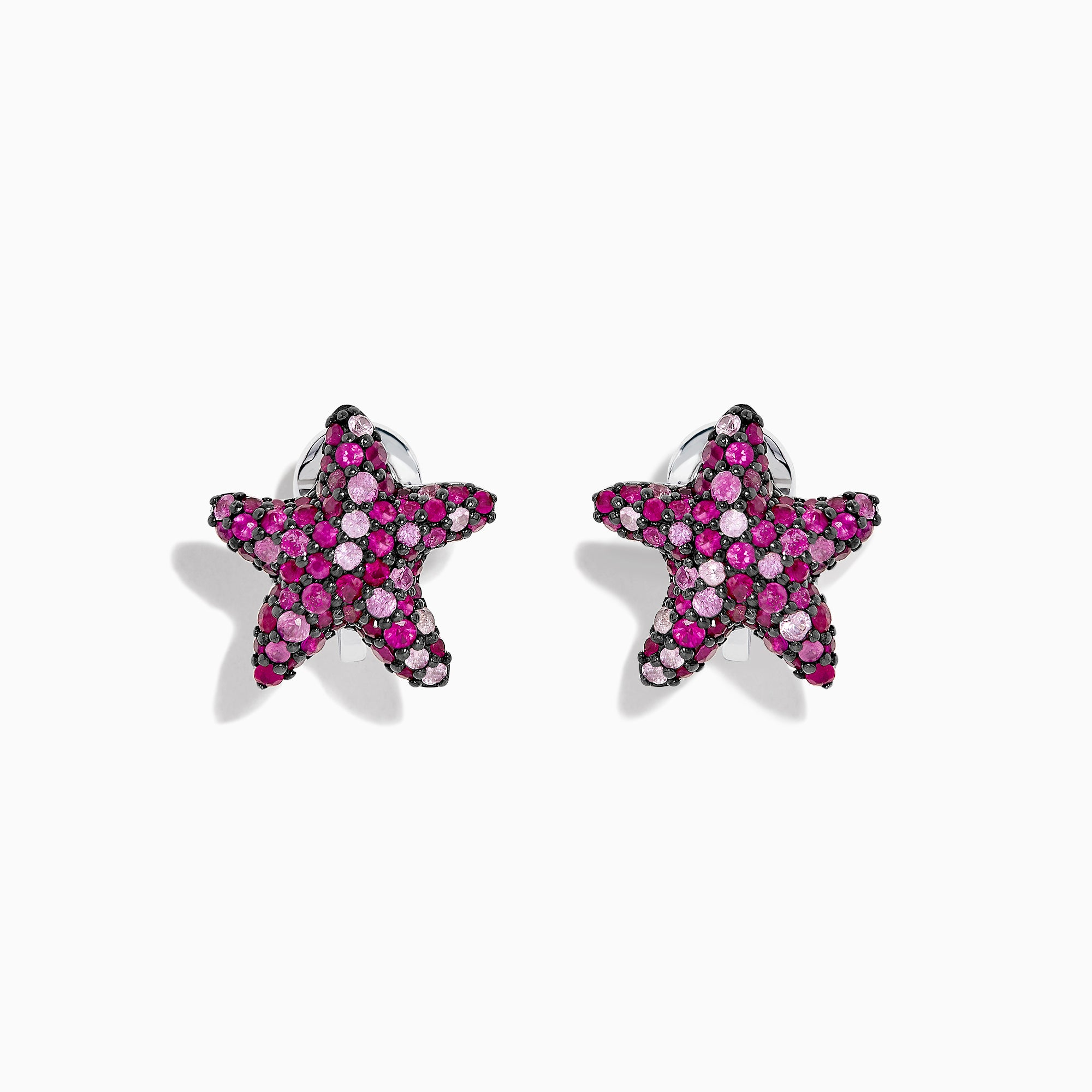 Effy 925 Splash Ruby & Pink Sapphire Starfish Earrings, 2.35 TCW