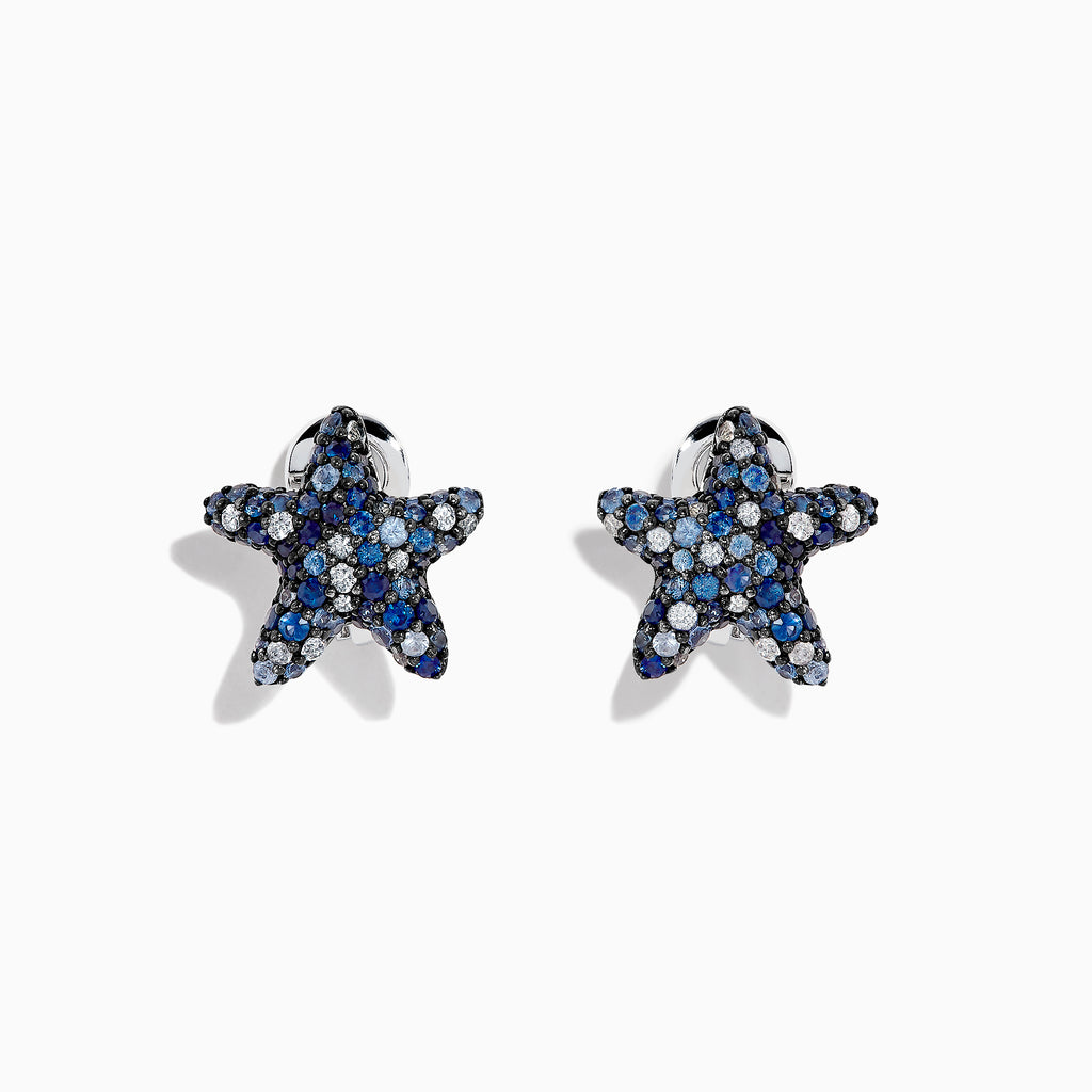 Effy Seaside Sterling Silver Blue Sapphire Starfish Earrings, 2.40 TCW
