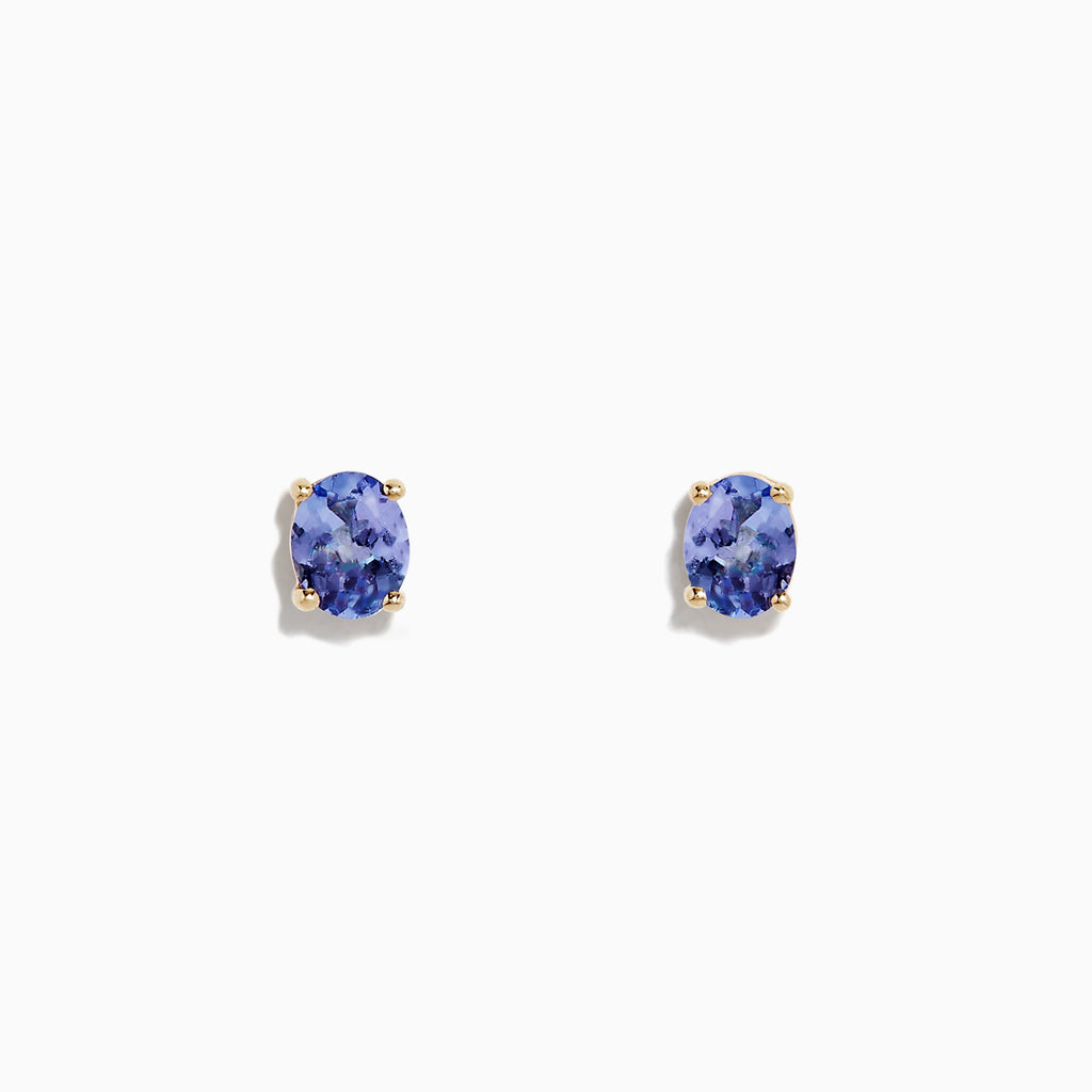 Effy 14K Yellow Gold Oval Tanzanite Stud Earrings, 0.65 TCW
