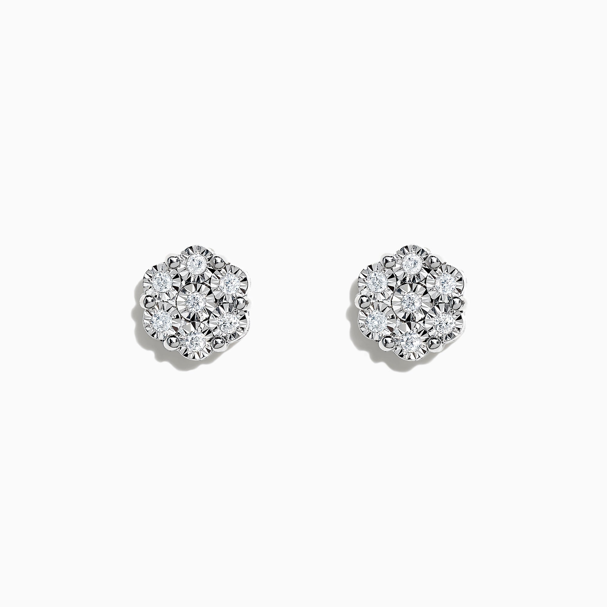 Effy 925 Sterling Silver Diamond Bouquet Stud Earrings, 0.14 TCW