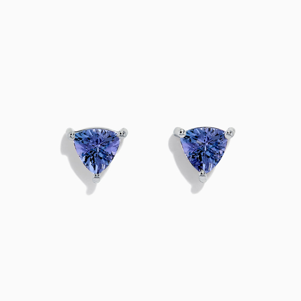 Effy 14K White Gold Trillion Cut Tanzanite Stud Earrings, 0.65 TCW