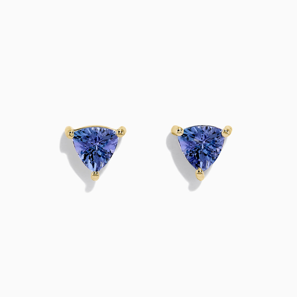 Effy 14K Yellow Gold Trillion Cut Tanzanite Stud Earrings, 0.65 TCW