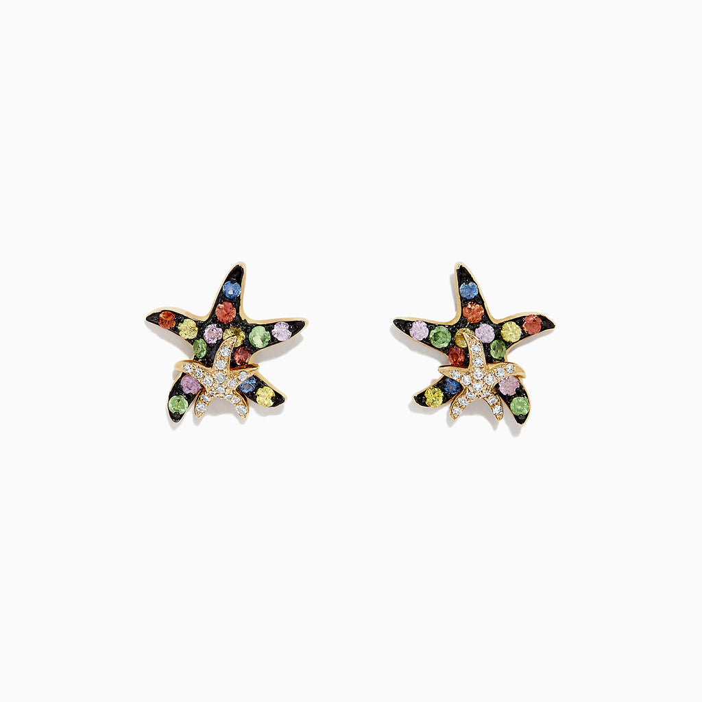 Effy Watercolors 14K Gold Sapphire & Diamond Starfish Earrings, 0.76 TCW