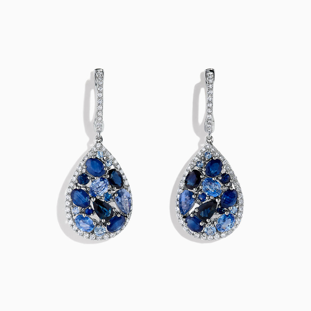 Effy Gemma 14K White Gold Sapphire and Diamond Teardrop Earrings, 4.31 TCW