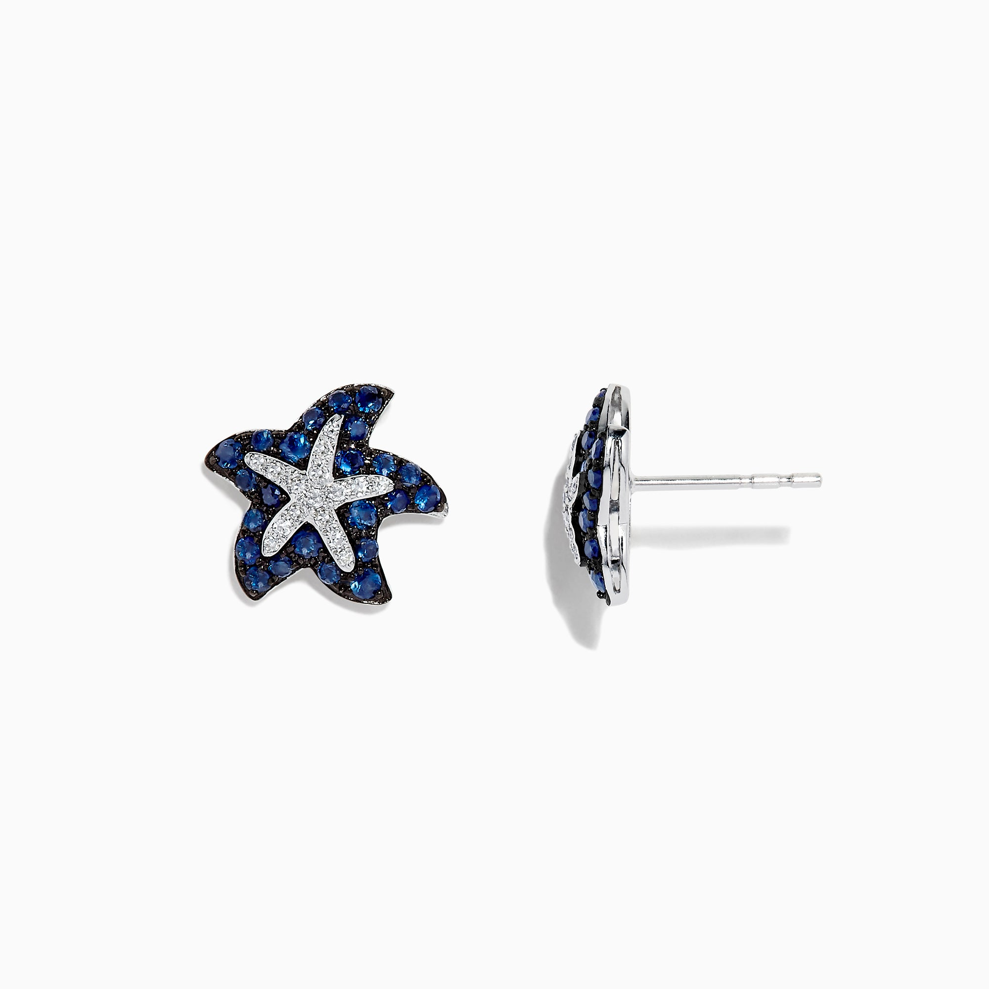 Effy Seaside 14K White Gold Sapphire & Diamond Starfish Studs, 0.82 TCW