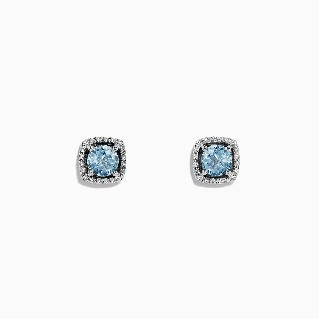 Effy Aquarius 14K White Gold Aquamarine and Diamond Earrings, 0.88 TCW