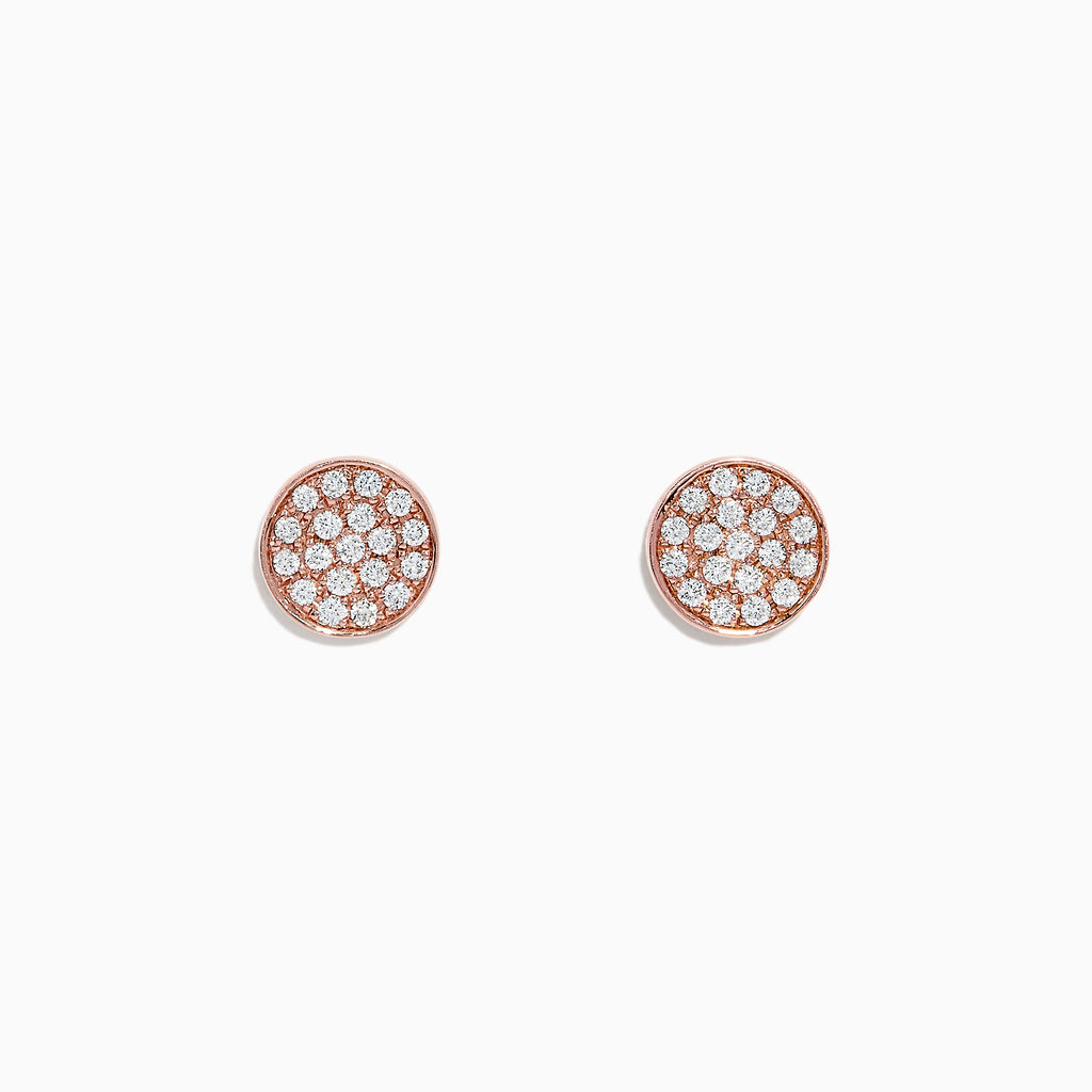 Effy Pave Classica 14K Rose Gold Diamond Earrings, 0.38 TCW