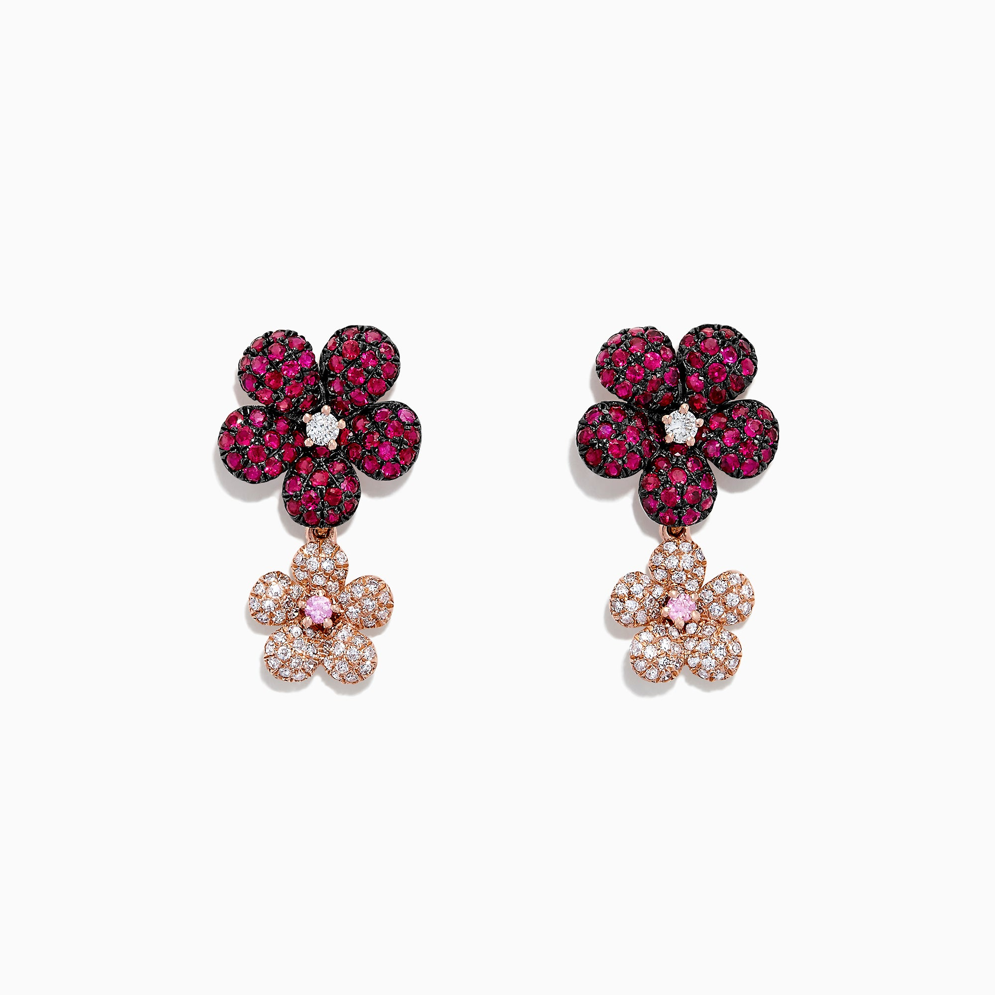 Effy Nature 14K Gold Ruby, Sapphire & Diamond Flowers Earrings, 1.80 TCW