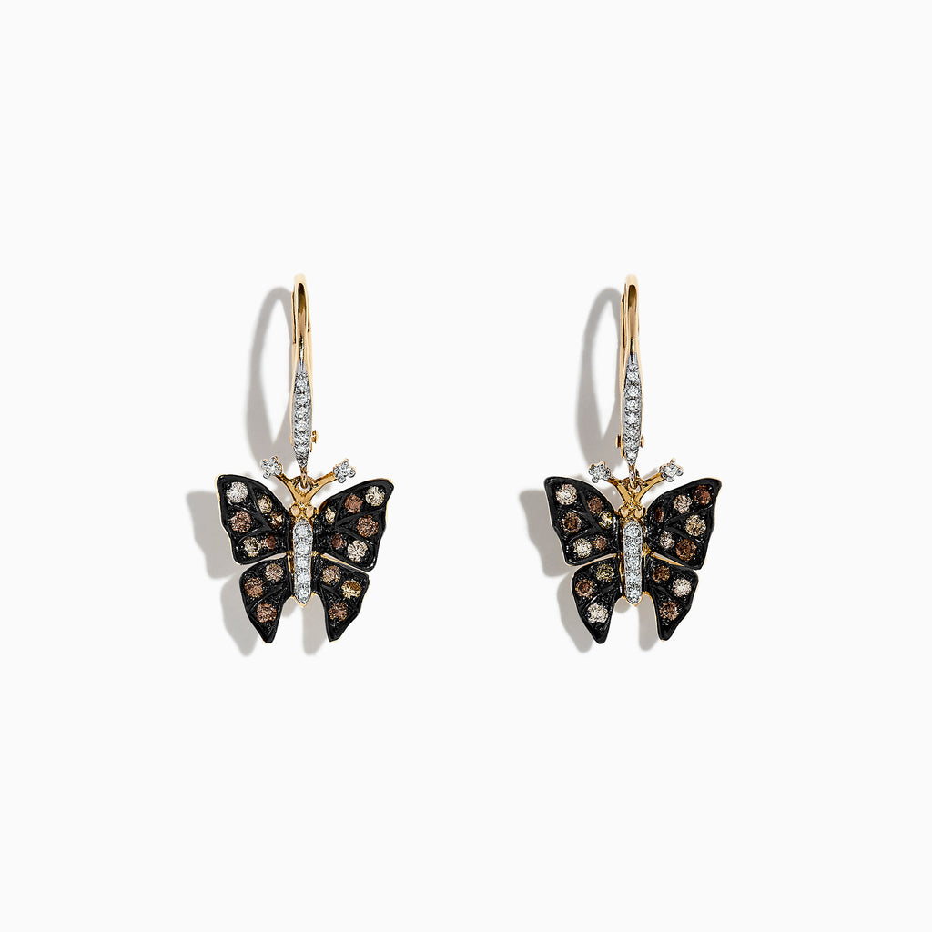 Effy Nature 14K Yellow Gold Cognac & White Diamond Butterfly Earrings, 0.57 TCW