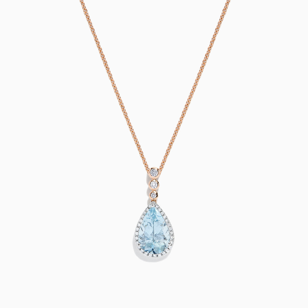 Effy Aquarius 14K Two Tone Gold Aquamarine & Diamond Pendant, 2.68 TCW