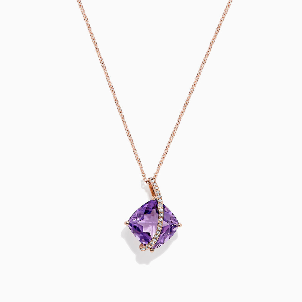 Effy 14K Rose Gold Amethyst and Diamond Pendant, 6.88 TCW