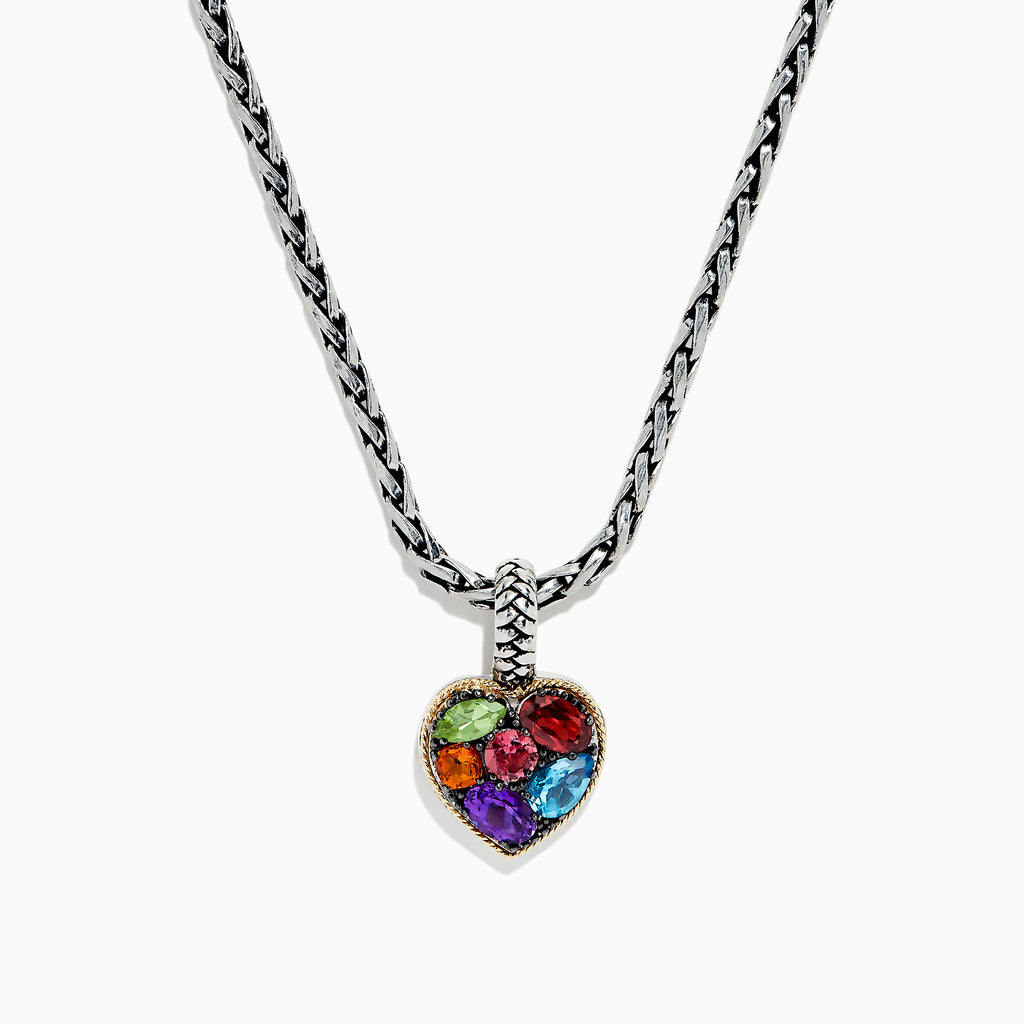 Effy 925 Sterling Silver & 18K Gold Multi Gemstone Heart Pendant, 1.98 TCW