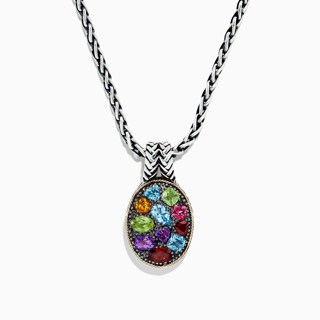Effy 925 Sterling Silver & 18K Yellow Gold Multi Gemstone Pendant, 3.85 TCW