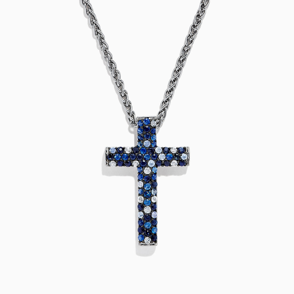 Effy 925 Sterling Silver Blue Sapphire Splash Cross Pendant, 2.58 TCW