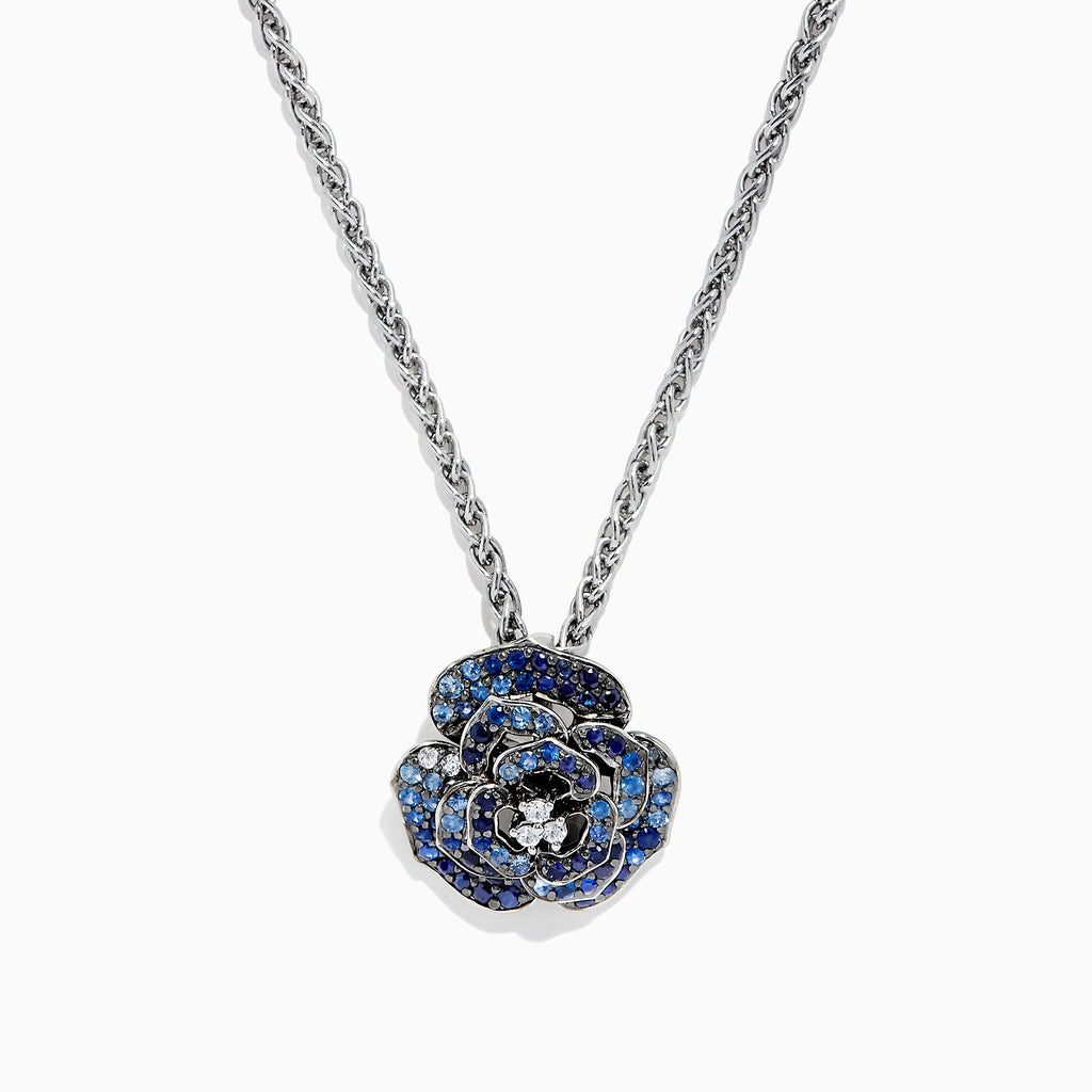 Effy 925 Sterling Silver Blue & White Sapphire Splash Flower Pendant, 1.60 TCW