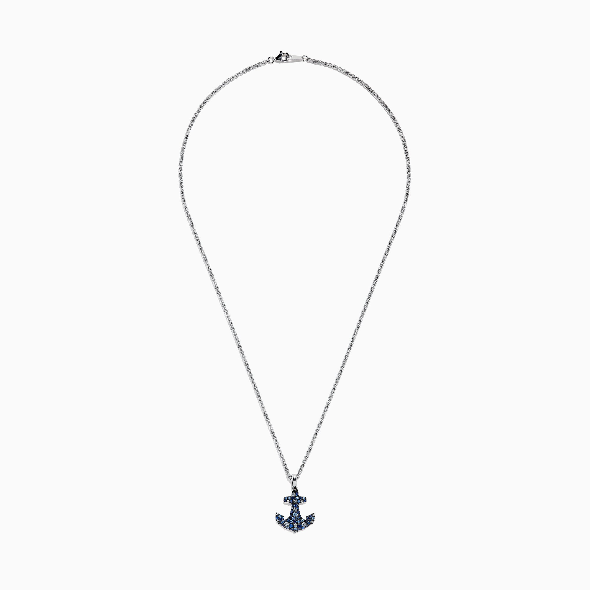 Effy 925 Sterling Silver Blue Sapphire Splash Anchor Pendant, 1.40 TCW