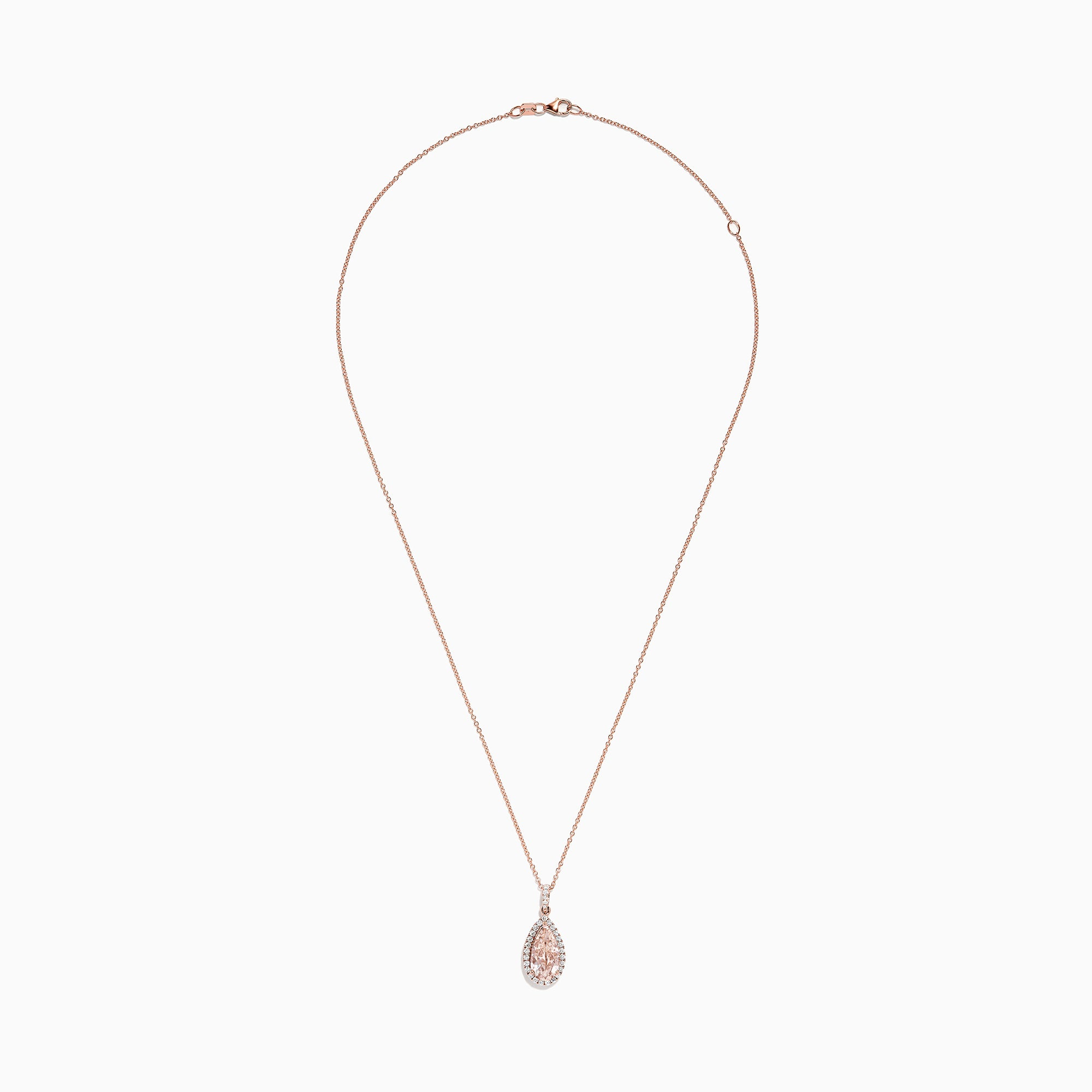 Effy Blush 14K Rose Gold Morganite and Diamond Pendant, 2.76 TCW