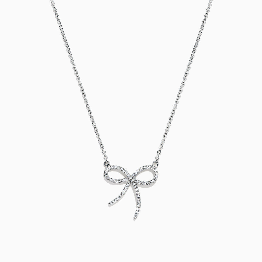 Effy Novelty 14K White Gold Diamond Ribbon Pendant, 0.18 TCW