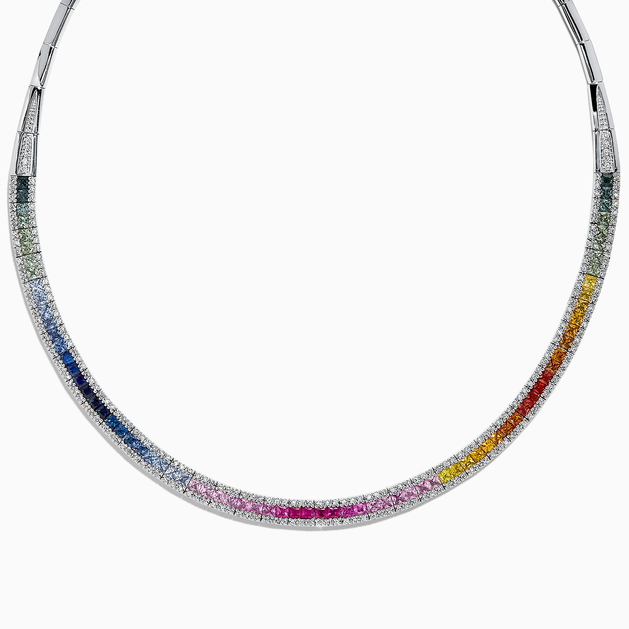 Effy Watercolors 14K White Gold Multi Sapphire & Diamond Necklace, 11.31 TCW