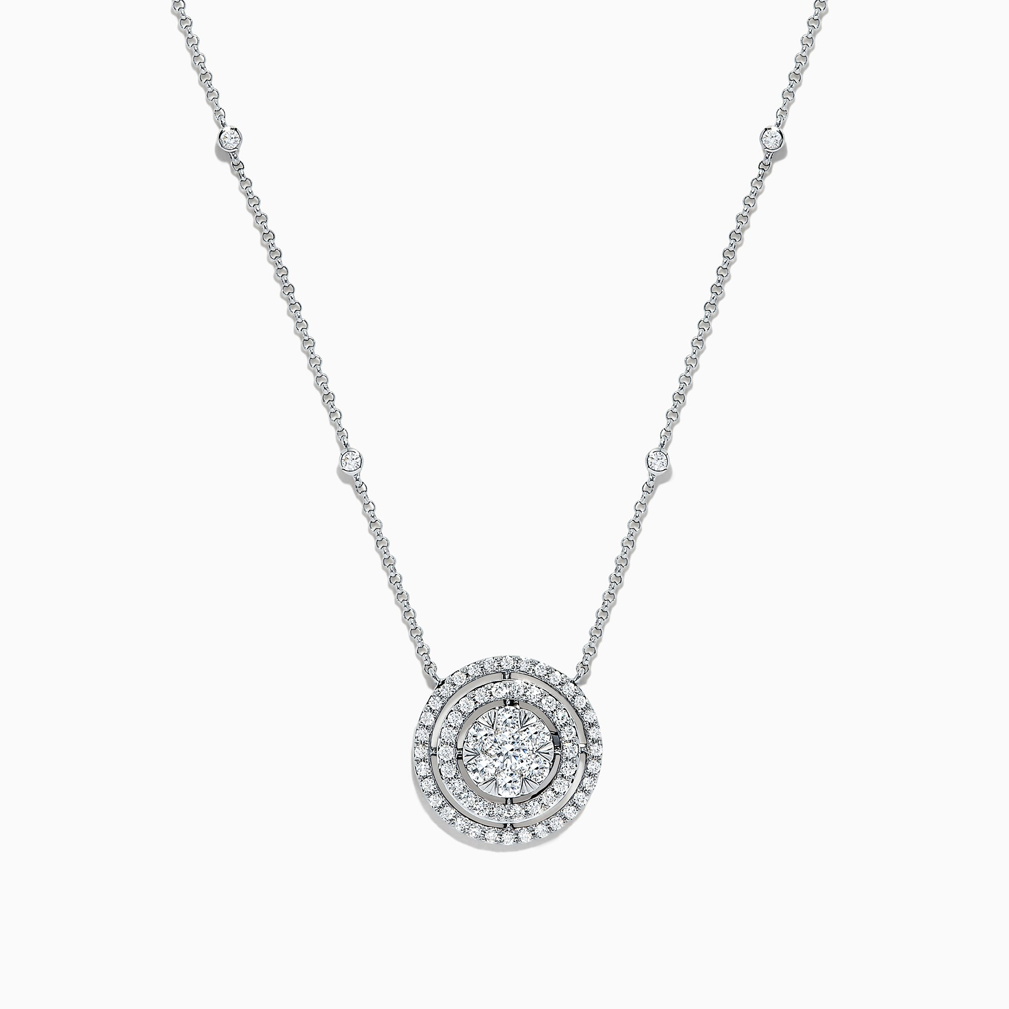 Effy Bouquet 14K White Gold Diamond Cluster Double Halo Pendant, 0.71 TCW