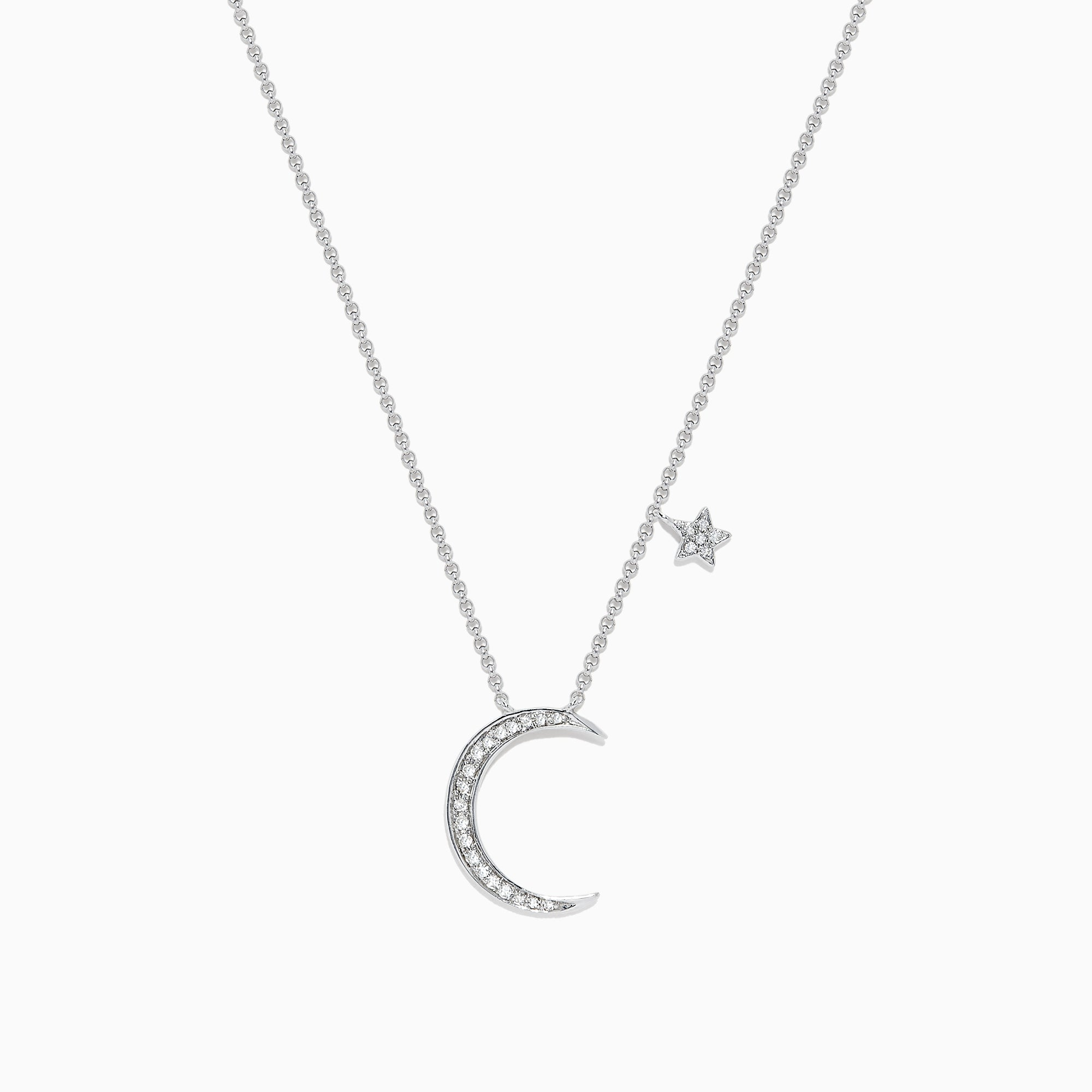 Effy Novelty 14K White Gold Diamond Crescent & Star Necklace, 0.09 TCW