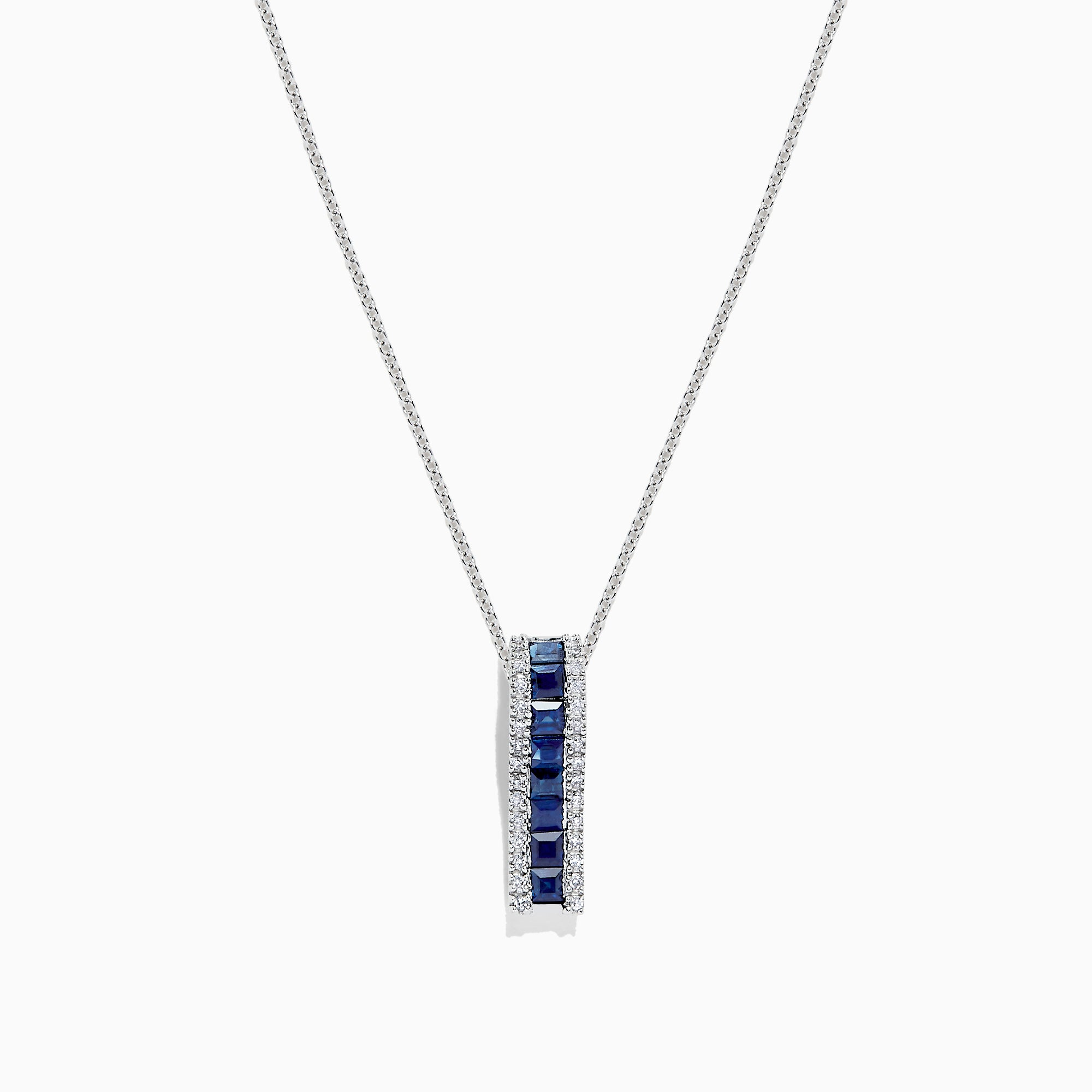 Effy 14K White Gold Blue Sapphire and Diamond Pendant, 1.20 TCW