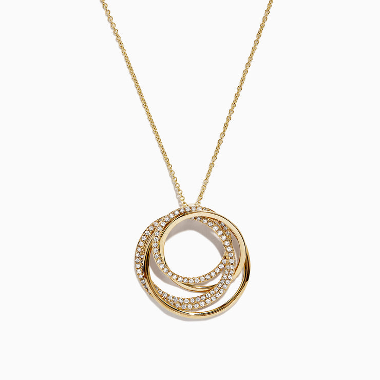 Effy D'Oro 14K Yellow Gold Diamond Circles Pendant, 0.41 TCW