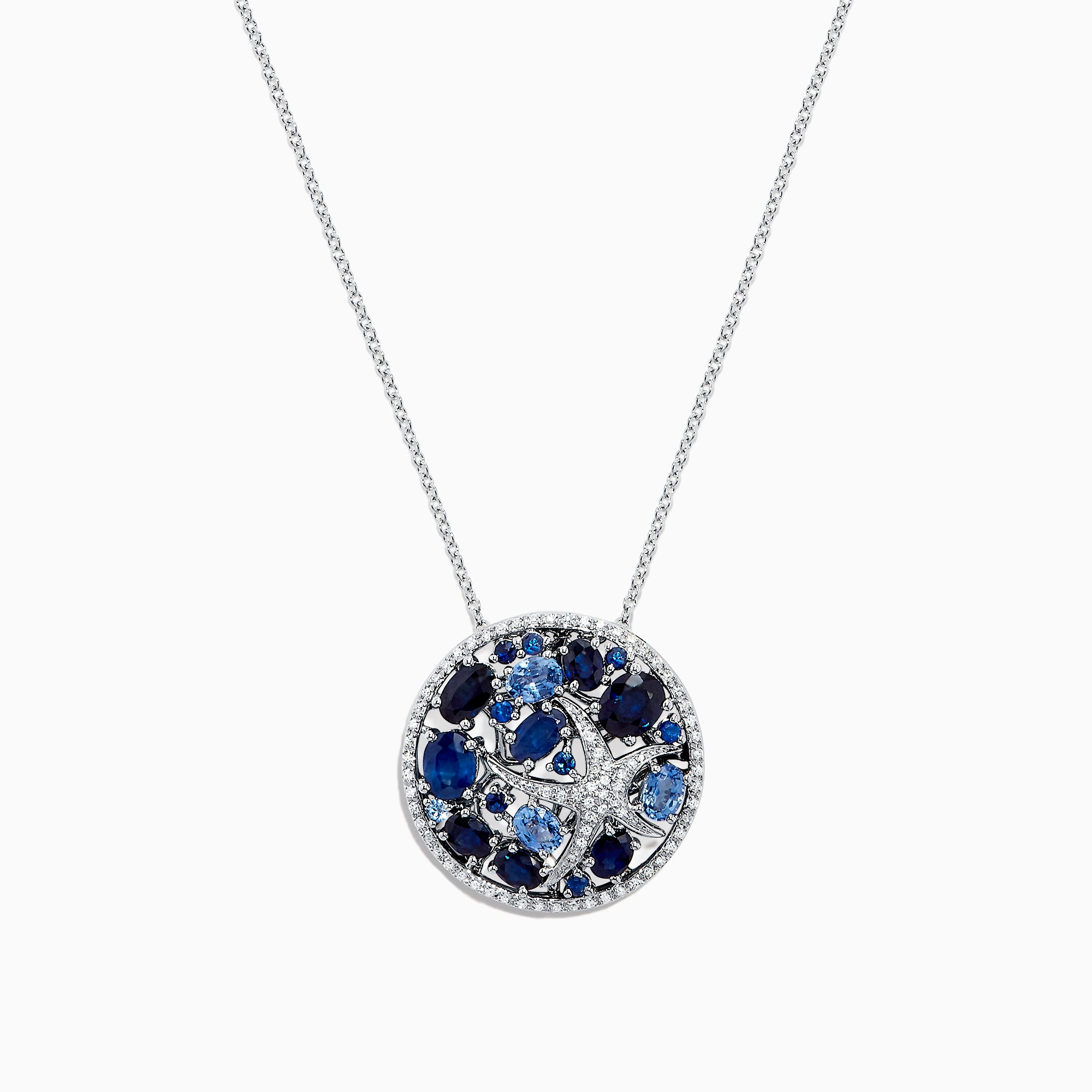 Effy Seaside 14K White Gold Blue Sapphire and Diamond Starfish Pendant