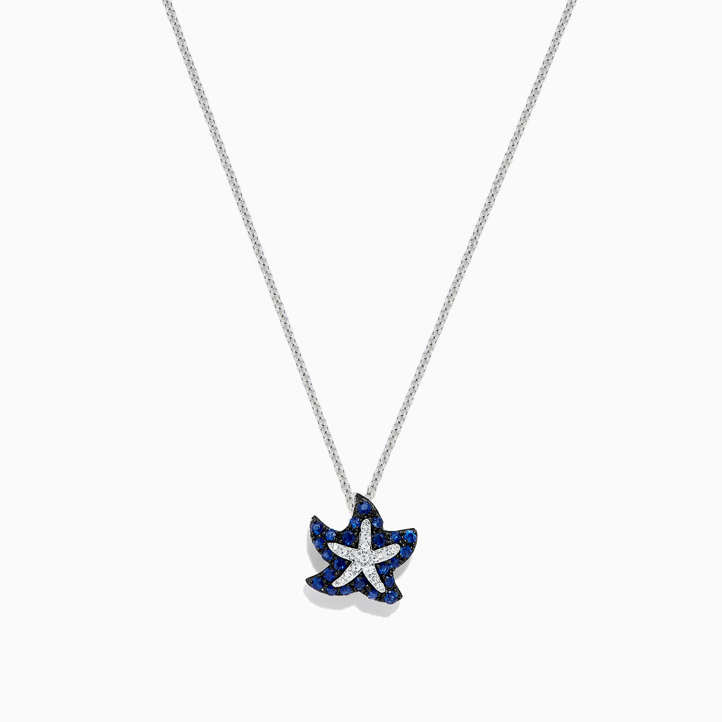 Effy Seaside 14K White Gold Sapphire & Diamond Starfish Pendant, 0.41 TCW