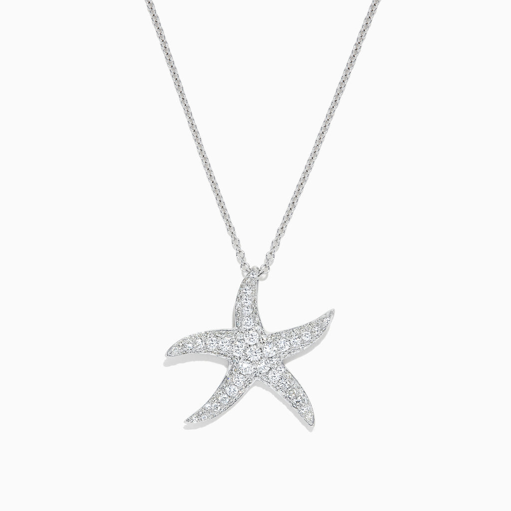 Effy Seaside 14K White Gold Diamond Starfish Pendant, 0.55 TCW