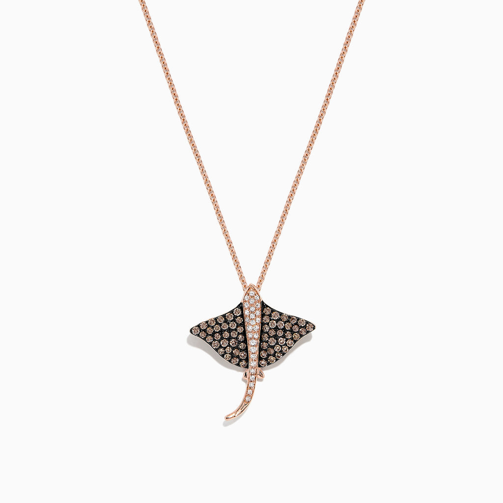 Effy Seaside 14K Gold Cognac & White Diamond Stingray Pendant, 0.46 TCW