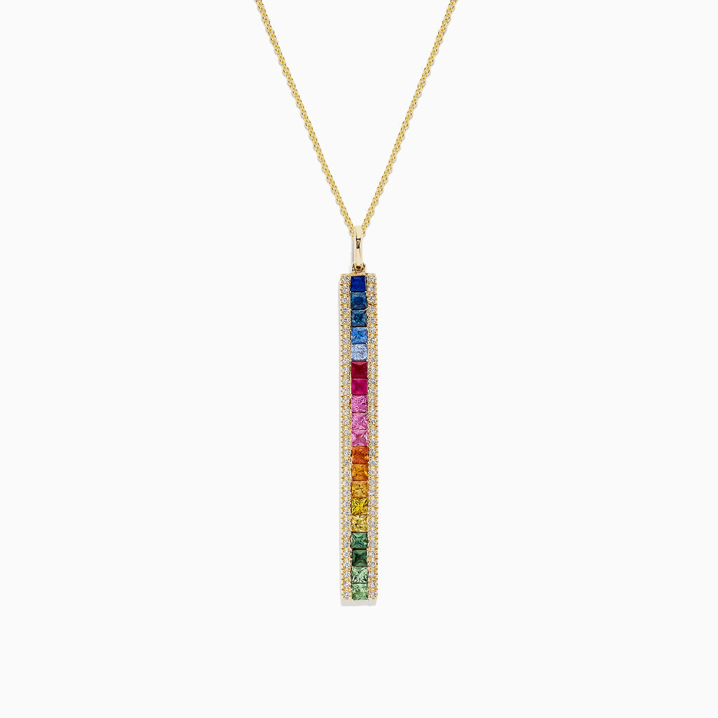 Effy Watercolors 14K Gold Sapphire and Diamond Vertical Pendant, 2.06 TCW