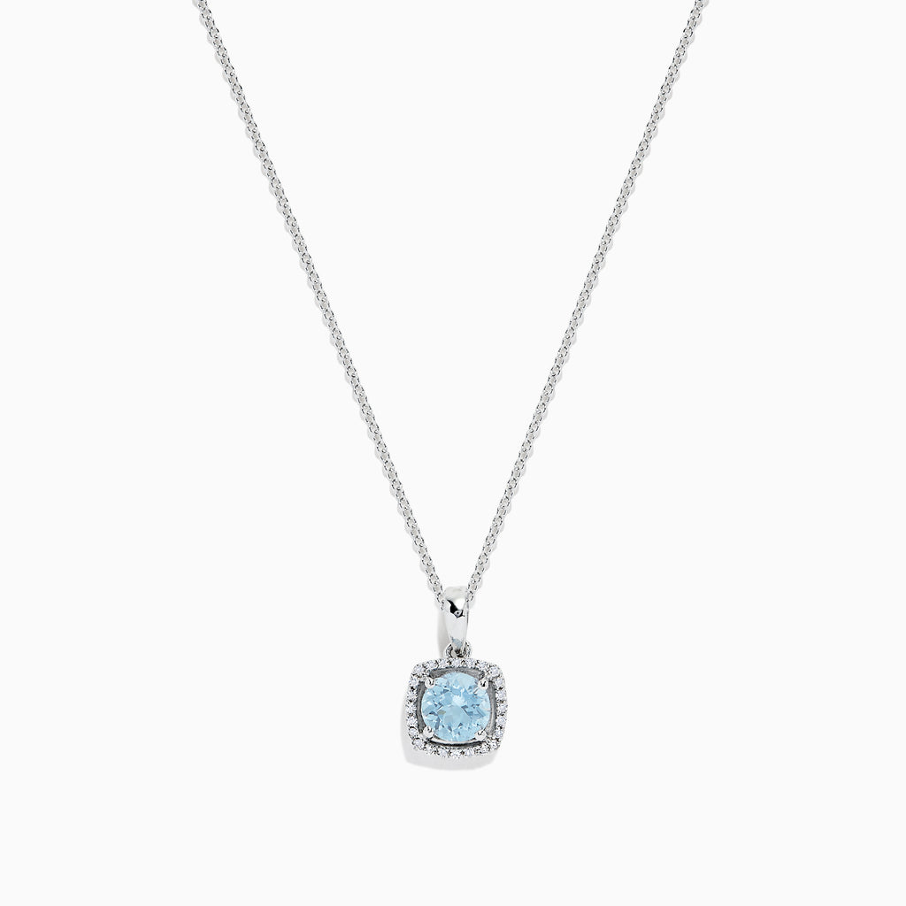 Effy Aquarius 14K White Gold Aquamarine and Diamond Pendant, 0.78 TCW